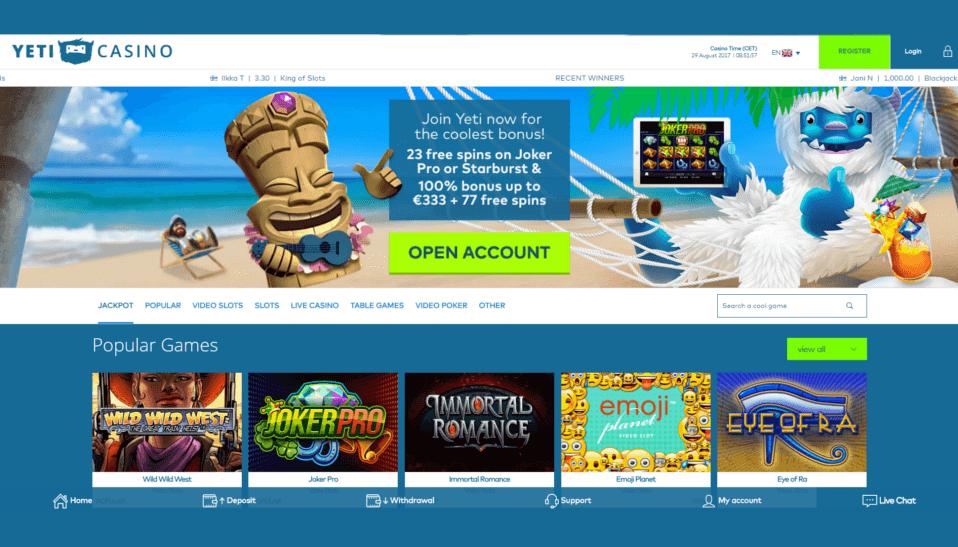 yeti casino online